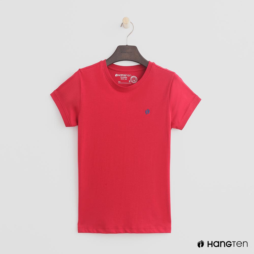 Hang Ten - 女裝 - 有機棉-logo圓領純色T恤 - 紅 @ Y!購物
