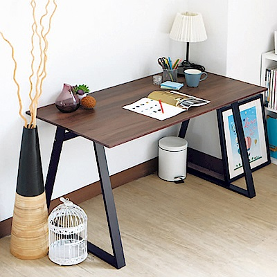 Boden-雷克斯4尺工業風書桌/工作桌(胡桃色)-120x60x76cm