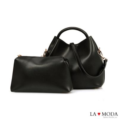 La Moda 實用百搭多背法大容量肩背手提子母包(黑)