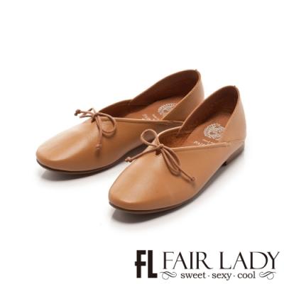 Fair Lady 懶骨頭 素面綁帶後踩兩穿平底鞋 棕