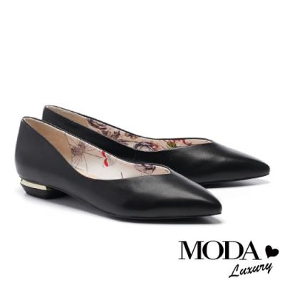 低跟鞋 MODA Luxury 簡約純色羊皮尖頭低跟鞋-黑