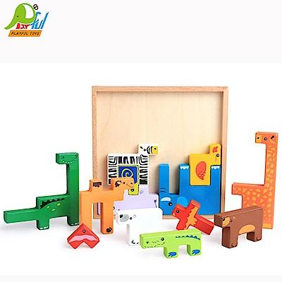 Playful Toys 頑玩具 木製動物方塊
