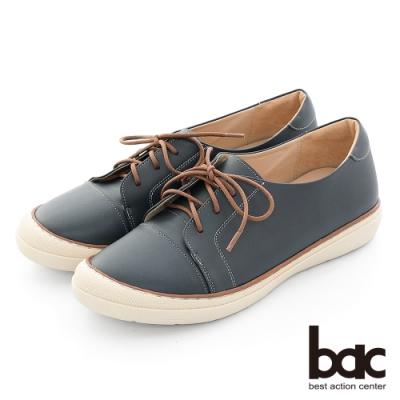 【bac】休閒享樂全真皮綁帶防踢頭餅乾休閒鞋-藍色
