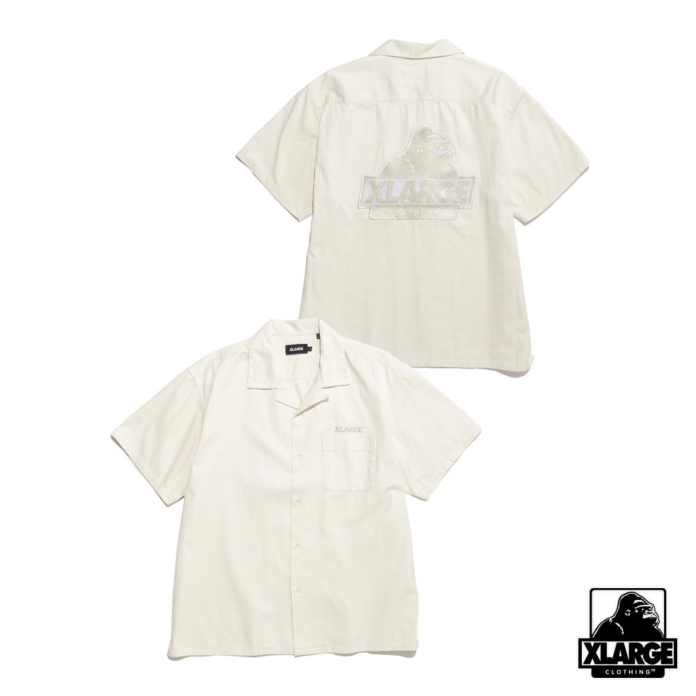 XLARGE S/S OG OPEN COLLAR SHIRT刺繡薄襯衫-白