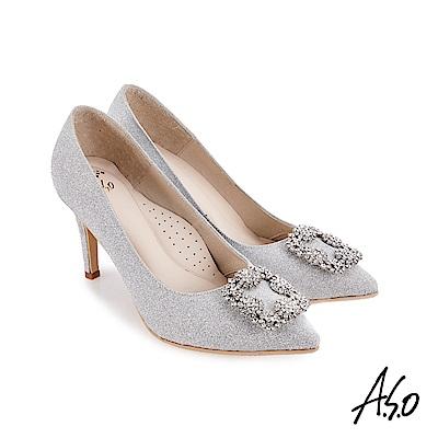 A.S.O 璀璨宴會 閃耀金蔥鑲鑽質感高跟鞋 銀色