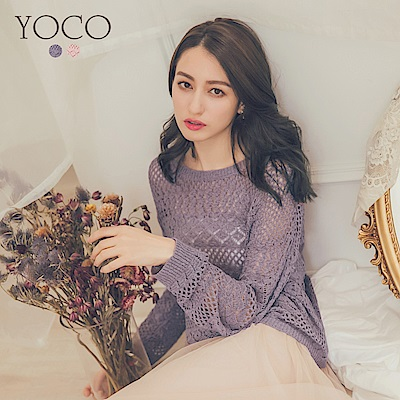東京著衣-yoco 裸肌浪漫甜美針織上衣-S.M.L(共二色)