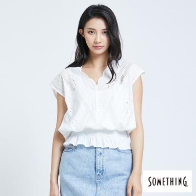 SOMETHING 蕾絲V領縮腰 短袖T恤-女-米白色