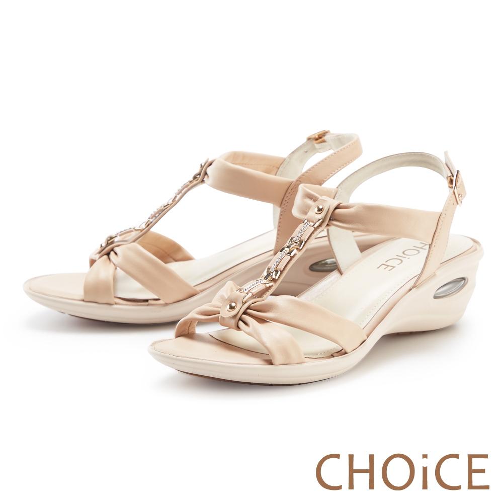 CHOiCE 真皮水鑽串鍊楔型氣墊 女 涼鞋 裸色