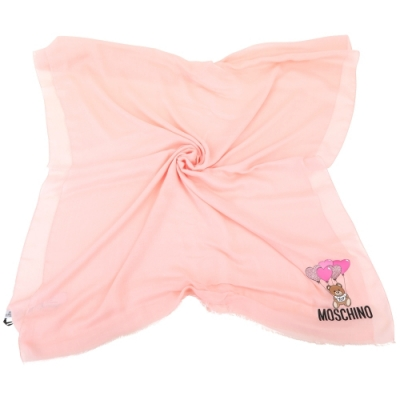 [冬天時髦百搭配件] MOSCHINO 泰迪熊莫代爾流蘇輕薄圍巾-2色可選