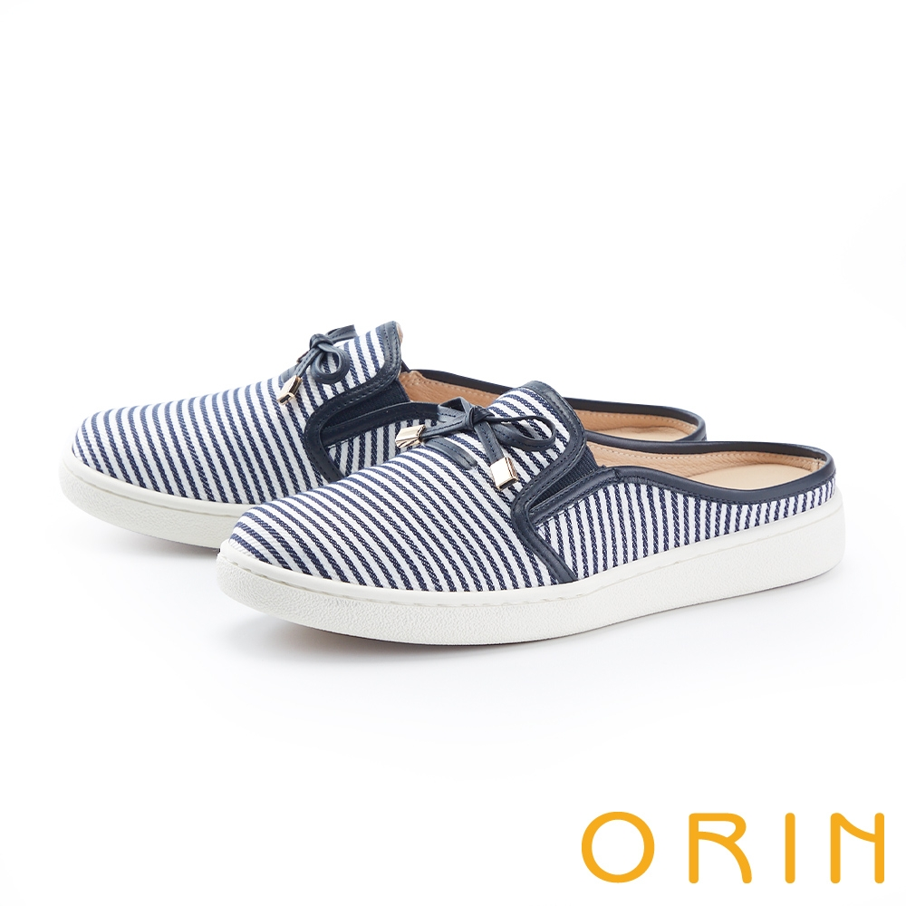 ORIN 條紋質感平底穆勒 女 休閒鞋 藍白