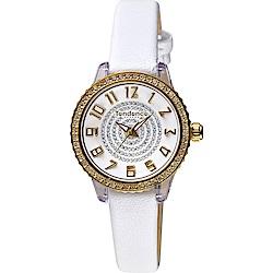 Tendence 天勢 Liliput 施華洛世奇水鑽女錶-白x金框/29mm