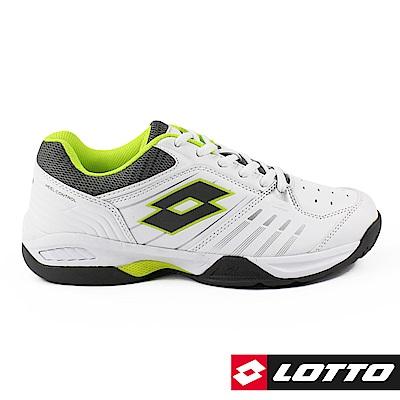 LOTTO 義大利 男 T-TOUR 600 全地型網球鞋 (白/螢光綠)