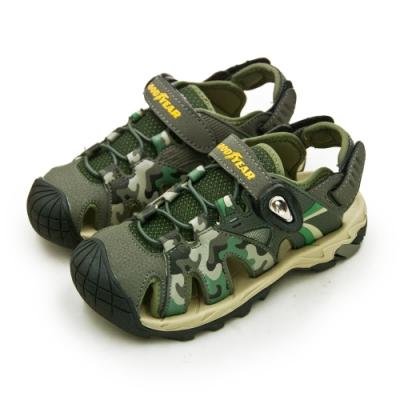 GOODYEAR 固特異 多功能運動磁扣護趾涼鞋 迷彩綠 98975