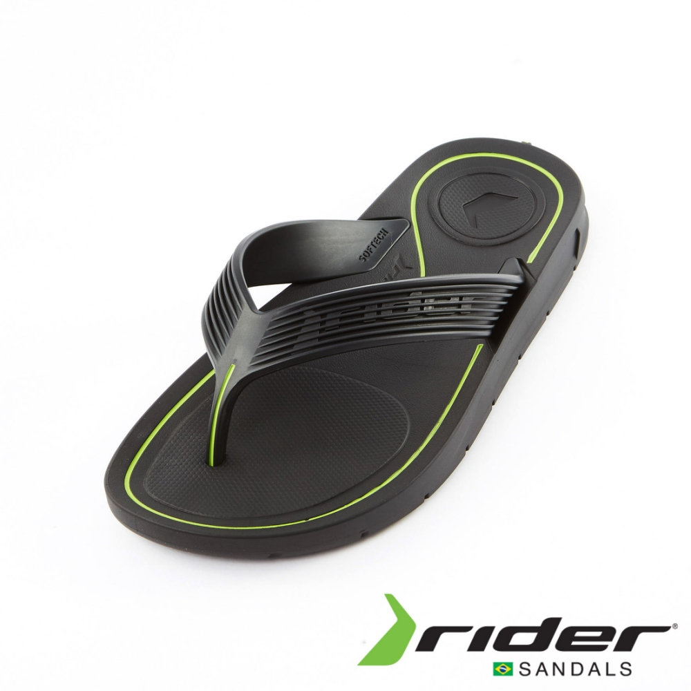 Rider 坑條寬帶夾腳拖鞋 男款 黑