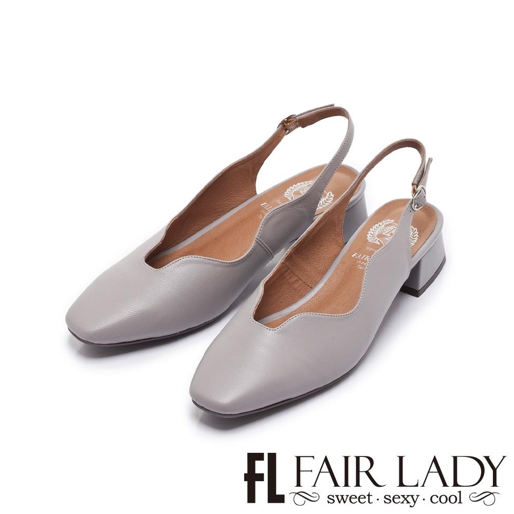 FAIR LADY 小時光 波浪造型後拉帶低跟花瓣鞋 岩灰