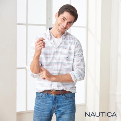 Nautica多彩橫條紋長袖襯衫