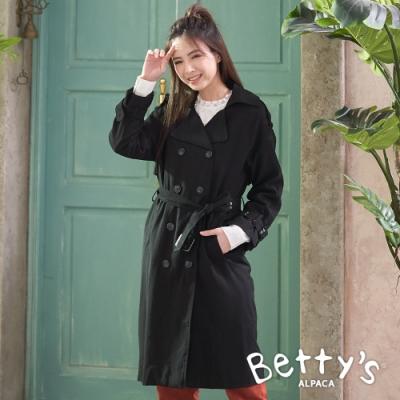betty's貝蒂思 翻領雙排釦造型長版大衣(黑色)