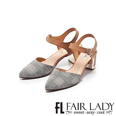 Fair Lady優雅小姐Miss Elegant格紋拼接扣環尖頭粗跟涼鞋 粉格紋