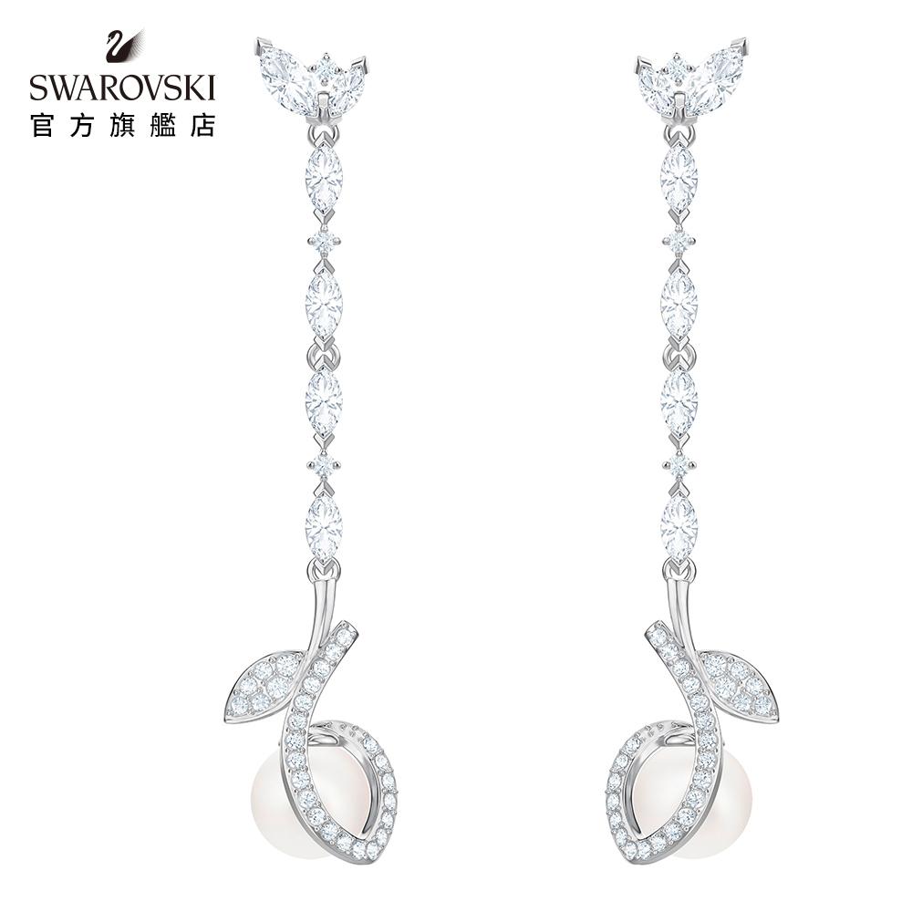 SWAROVSKI施華洛世奇 Leonore 白金色樹葉造型典雅珍珠長形穿孔耳環
