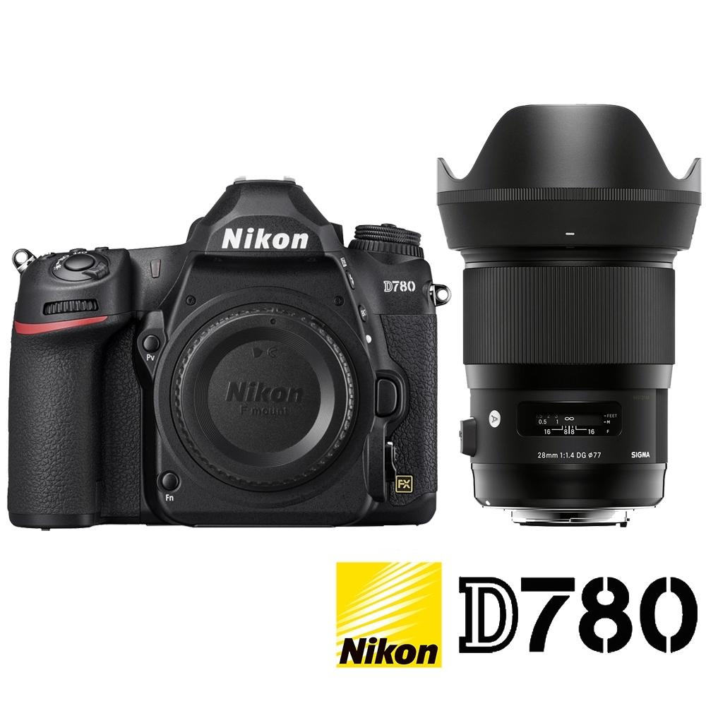 ★贈禮券★ NIKON D780 附 SIGMA 28mm F1.4 Art (公司貨) 全片幅數位單眼相機 4K錄影 WIFI傳輸