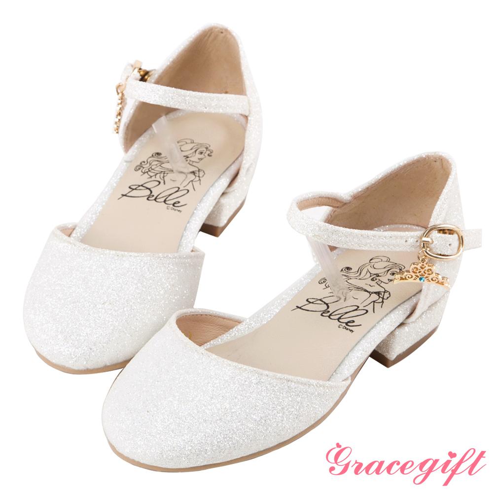 Disney collection by grace gift-皇冠吊飾童鞋 白碎石