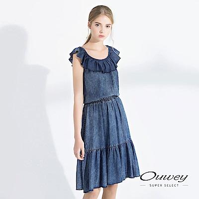 OUWEY歐薇 兩穿式領口荷葉輕薄牛仔洋裝(藍)