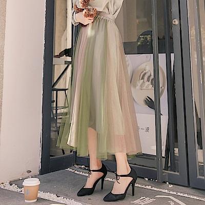 iMODA STAR- 臧芮軒。腰鬆緊綁帶拼色蕾絲澎澎層次中長紗裙
