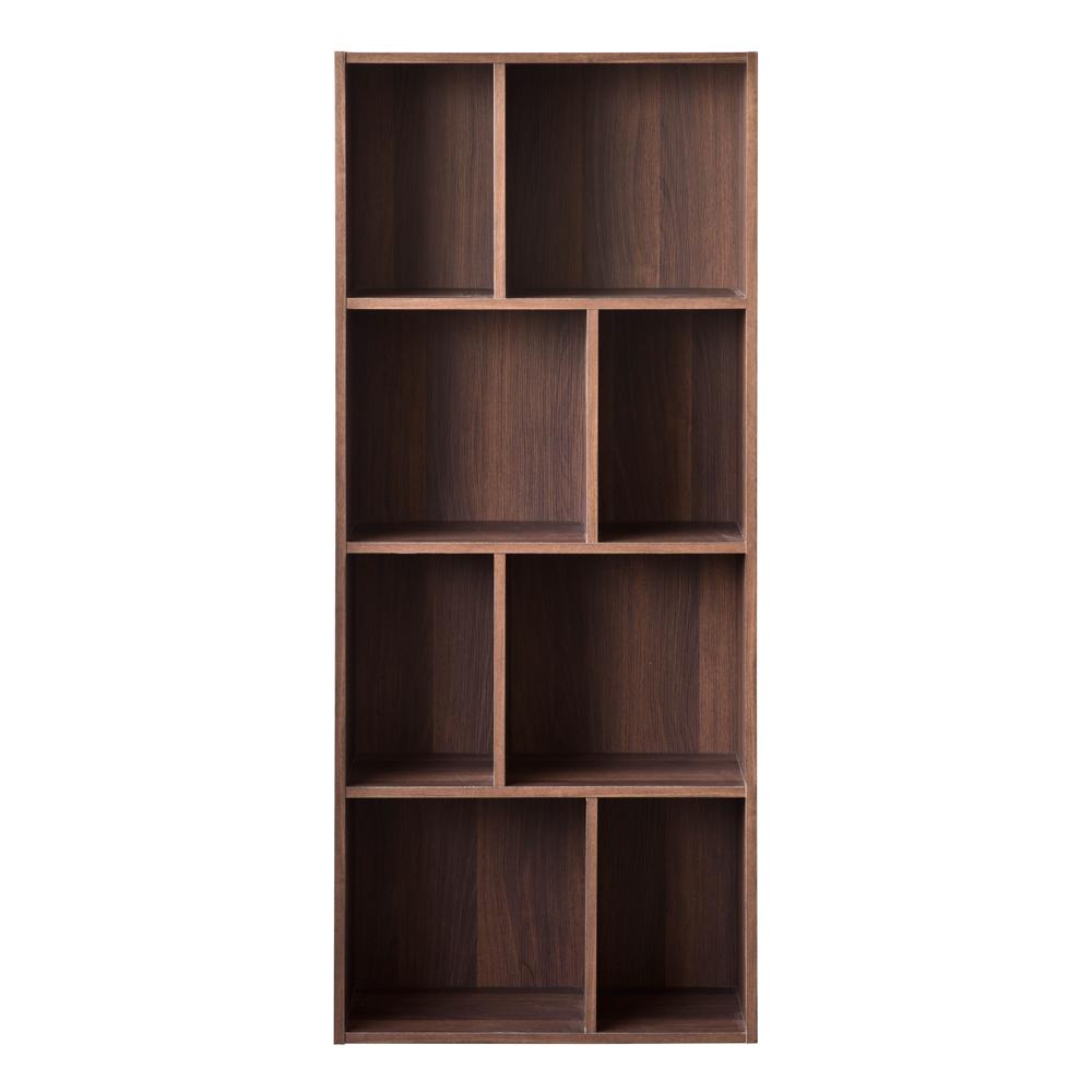 TZUMii 超穩固和風四層八格櫃-胡桃木色