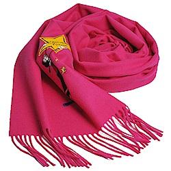 MOSCHINO BOUTIQUE 奧莉薇刺繡圖騰美麗諾羊毛披肩/圍巾(桃紅色)