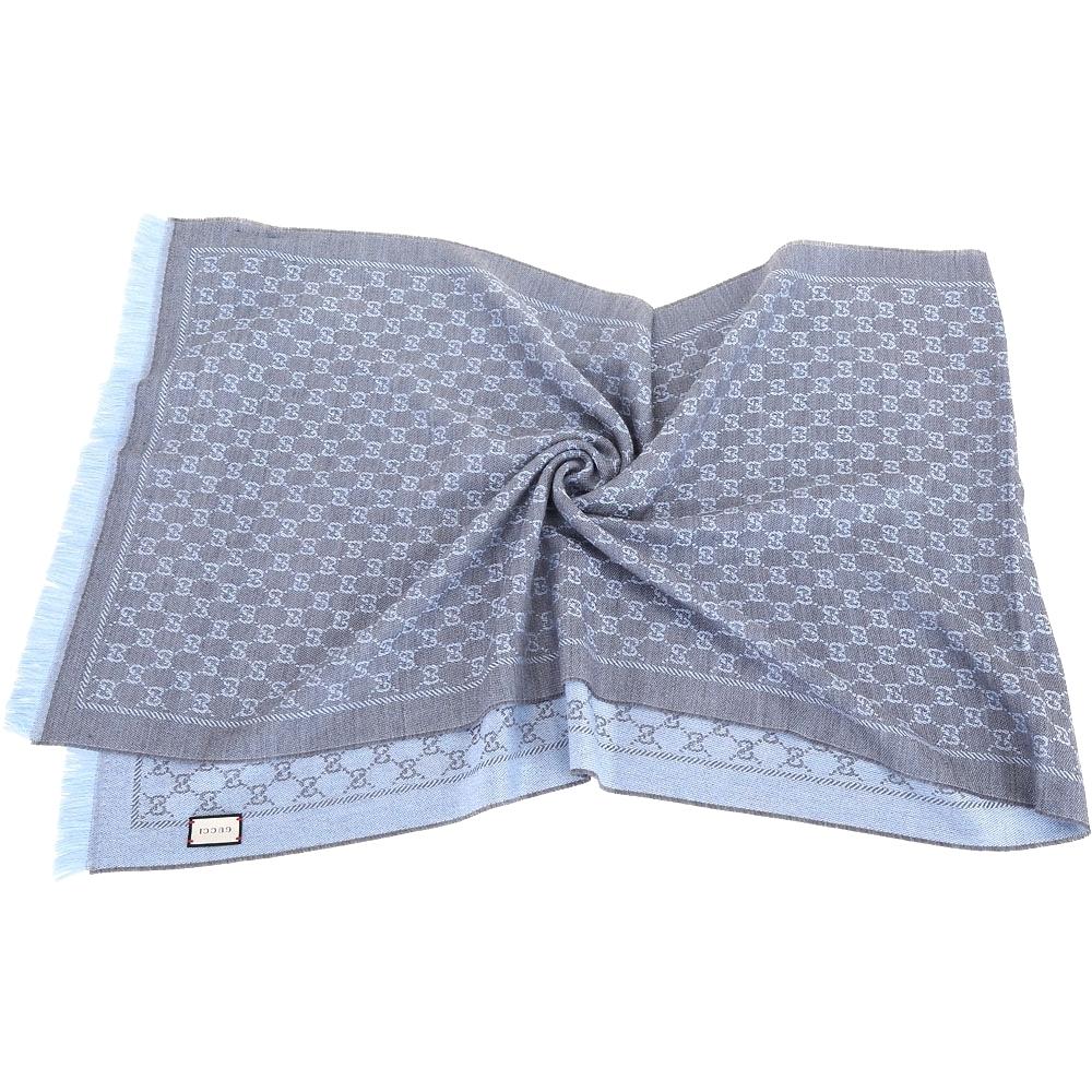 GUCCI GG jacquard 雙色緹花流蘇邊羊毛披肩/圍巾(藍灰色)
