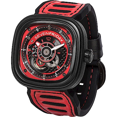 (無卡分期12期)SEVENFRIDAY  P3B賽車車隊系列 限量機械錶-黑x紅/48mm
