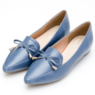 River&Moon俐落百搭.金墜朵結內增高尖頭樂福鞋-藍