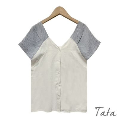 拼接條紋肩袖上衣 共二色 TATA-F