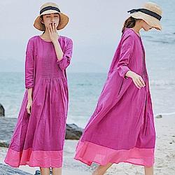 紫色風琴褶拼接洋裝棉麻中長裙-設計所在
