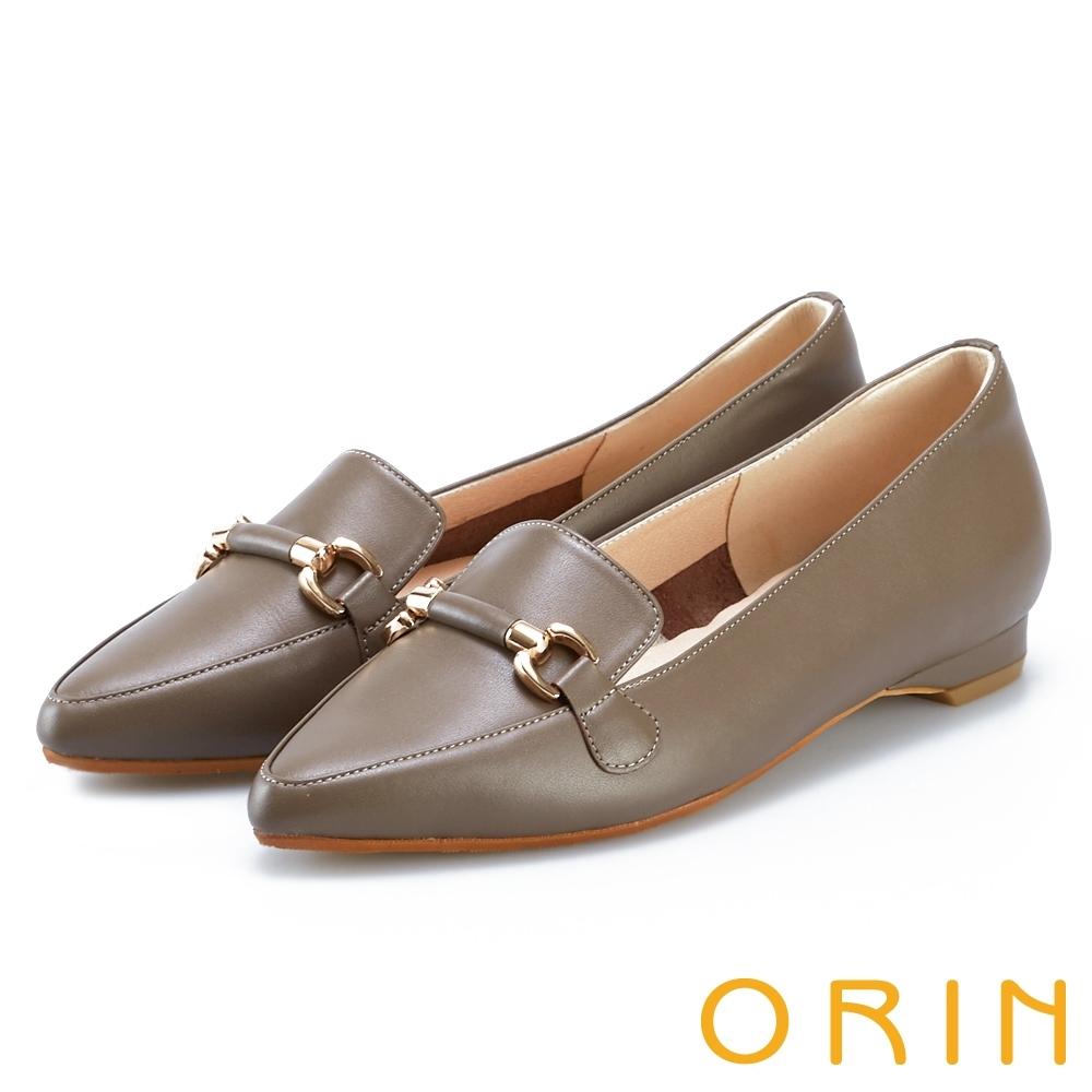 ORIN 質感牛皮馬銜釦樂福鞋 可可