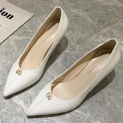 KEITH-WILL時尚鞋館 韓國設計尋花問柳水鑽典雅細跟鞋-白