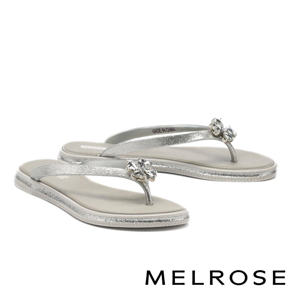 拖鞋 MELROSE 精緻閃耀愛心晶鑽人字低跟拖鞋-灰
