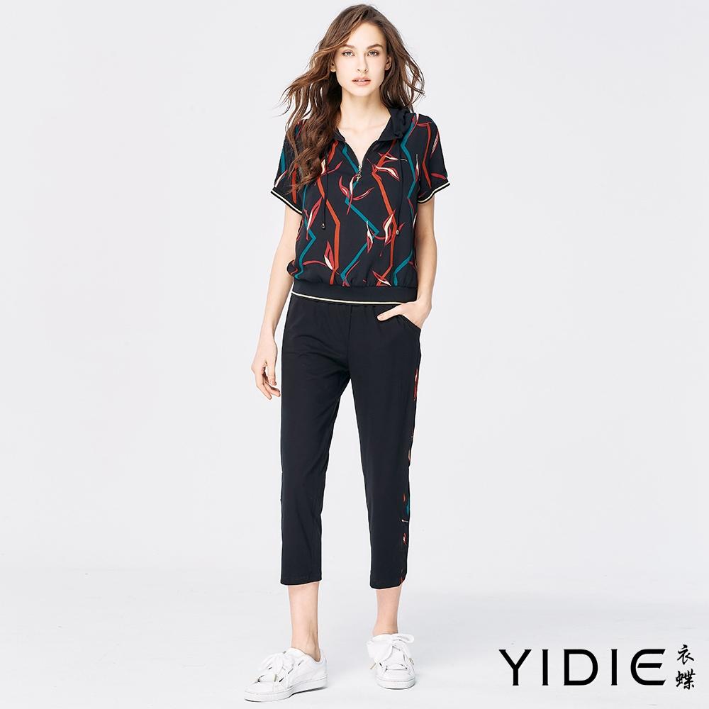 YIDIE衣蝶 植物圖案連帽抽繩八分褲套裝-黑(上下分開販售)