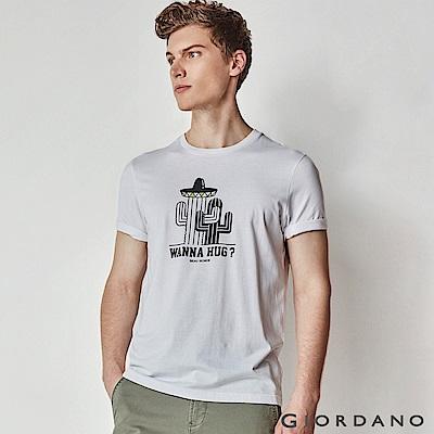 GIORDANO 男裝大自然系列印花短袖T恤-61 標誌白