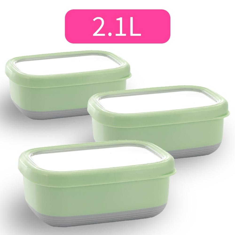 【佳工坊】長方型附蓋隔熱保鮮盒-XL號(2.1L)三入組