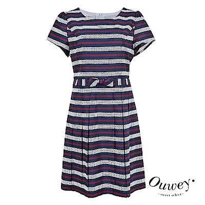 OUWEY歐薇 點點條紋甜美感洋裝(藍)