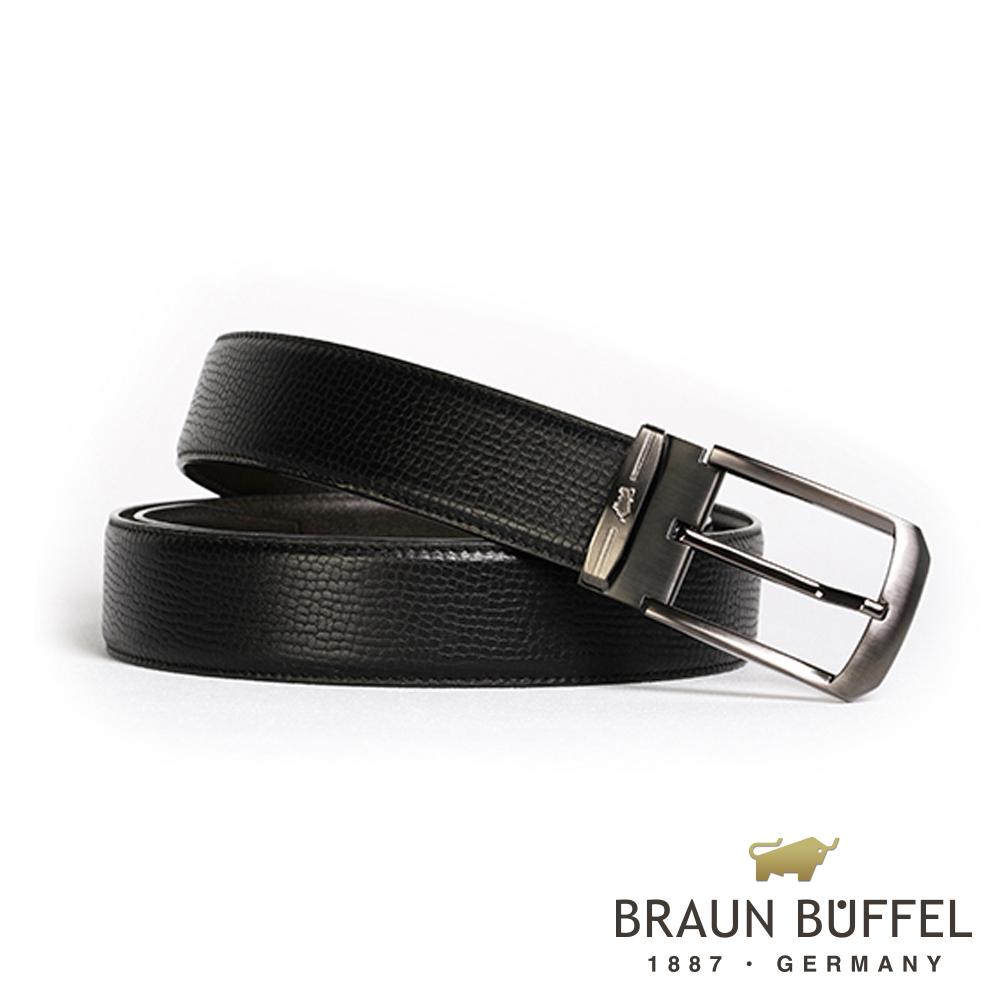 BRAUN BUFFEL - 沉穩紳士品味穿針式皮帶 - 鎗色