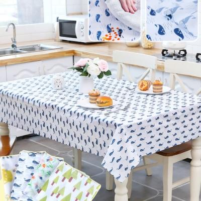 EZlife (2入)防水防油PEVA餐桌布/加贈地毯防滑固定貼1組