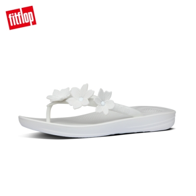 FitFlop IQUSHION FLOWER FLIP-FLOPS 花飾輕量人體工學戲水夾腳涼鞋-女(都會白)