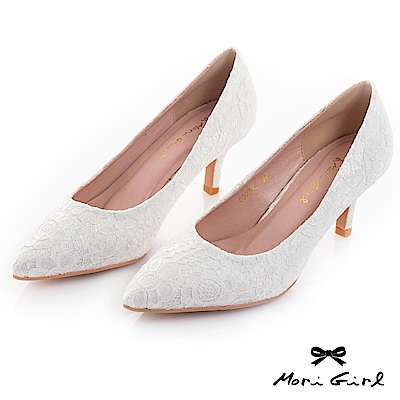Mori girl 2WAY可拆式蝴蝶結蕾絲中低跟鞋 白