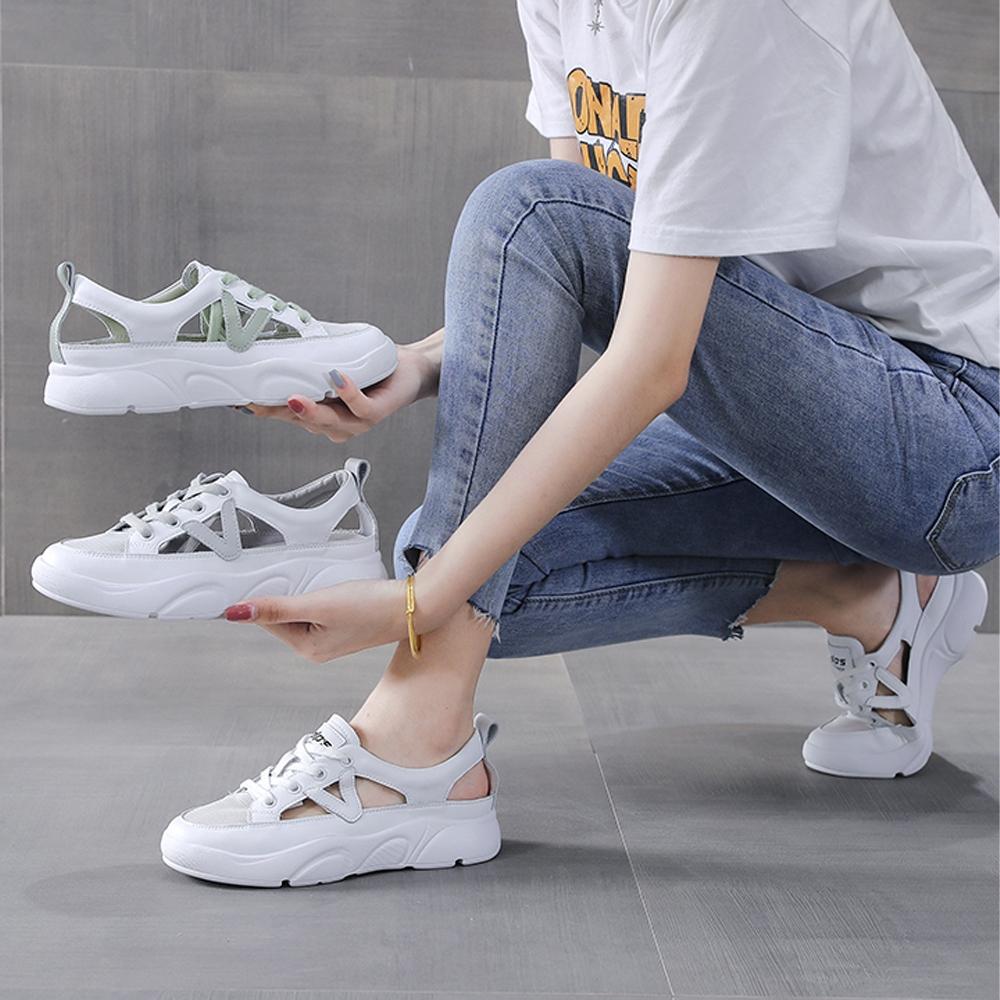 LN  現+預 韓版側邊簍空透氣小白鞋(休閒鞋/平板鞋) (綠色)