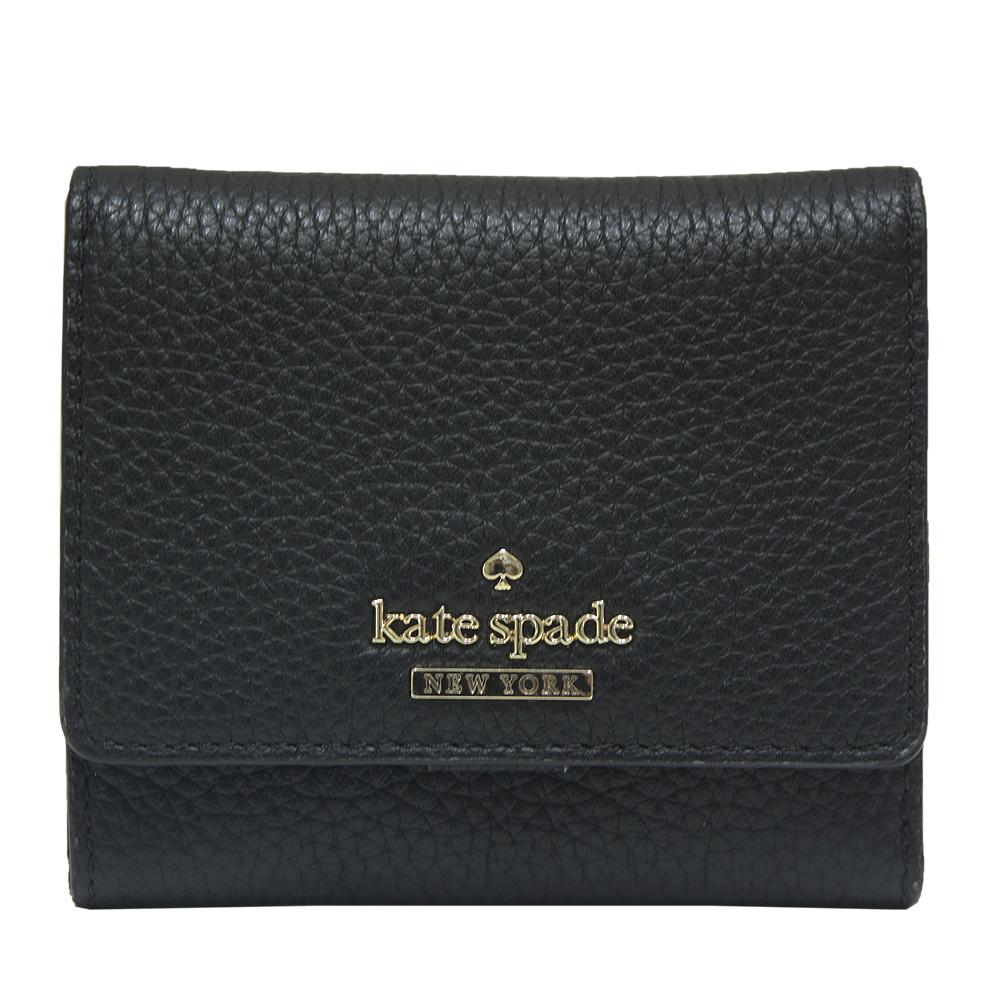 Kate spade jackson street jada 三折扣式牛皮短夾-黑色
