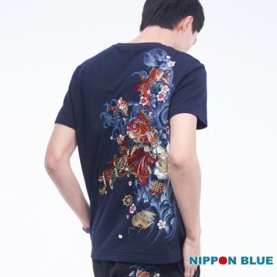 日本藍 BLUE WAY – 進口金標-精繡八寶金魚短TEE(藏青)