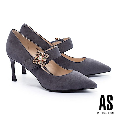 高跟鞋 AS 華麗巴洛克彩鑽飾繫帶全真皮尖頭跟鞋-灰