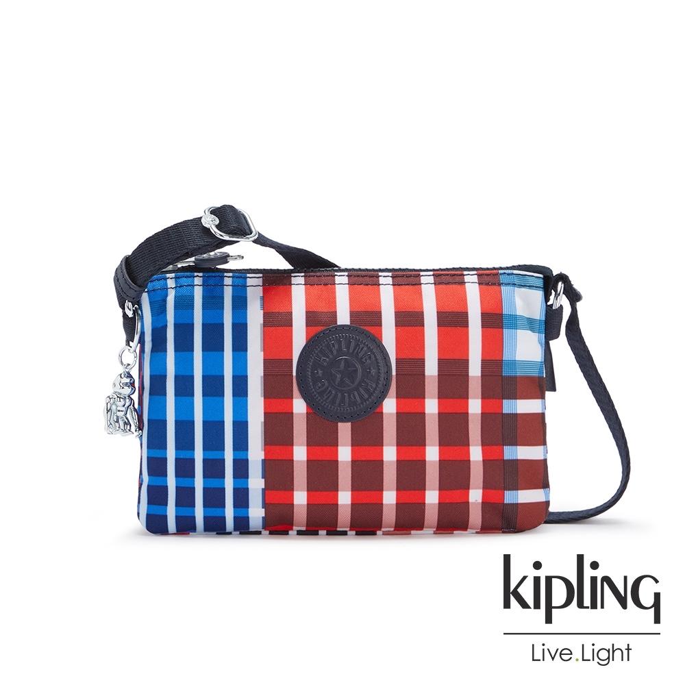 Kipling 個性撞色格紋三夾層配件包-CREATIVITY XB
